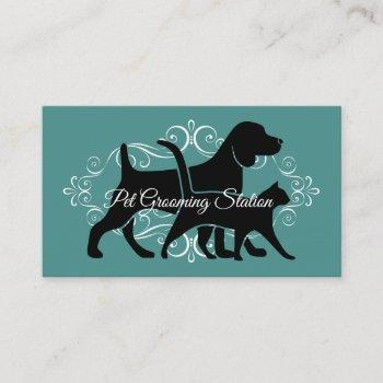 classy pet grooming business card