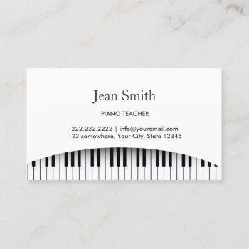 classy piano keys piano teacher business card