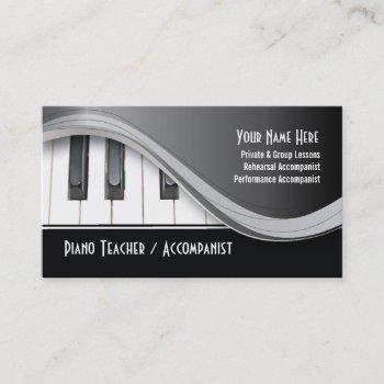classy piano teacher business card
