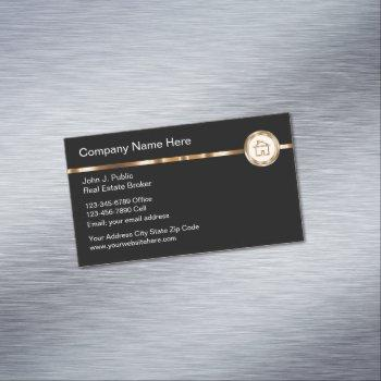 classy realtor theme gold house symbol business card magnet