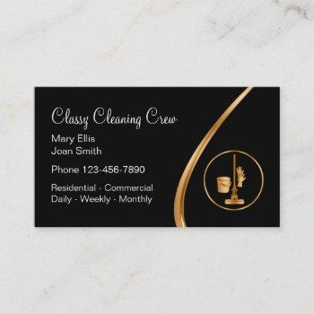 classy residential commercial cleaning service business card