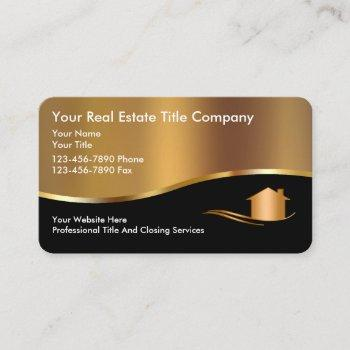 classy title company gold house business cards