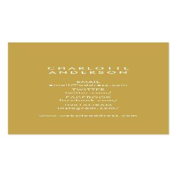 Small Classy White Faux Gold Headshot Photo Business Card Back View