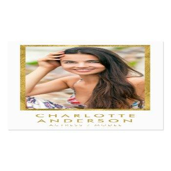 Small Classy White Faux Gold Headshot Photo Business Card Front View