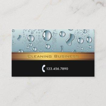 cleaning service gold stripe business card