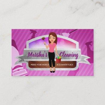 cleaning service logo business cards