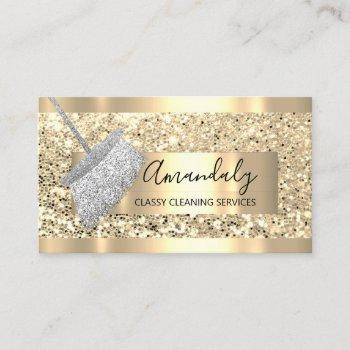 cleaning service maid house keeping gold gray business card