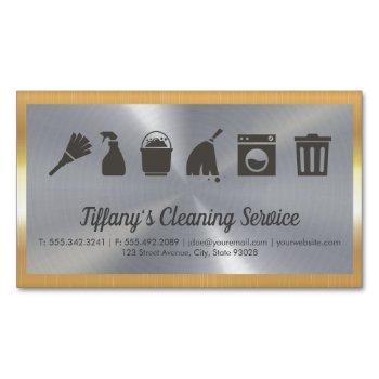 cleaning service   maid supplies   gold border business card magnet