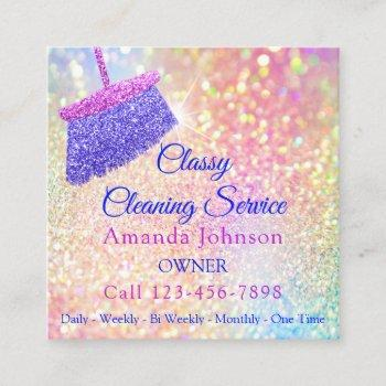 cleaning services housekeeper pink rose glitter square business card