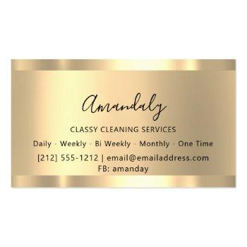 Small Cleaning Services Maid House Keeping Gold Glitter Business Card Back View