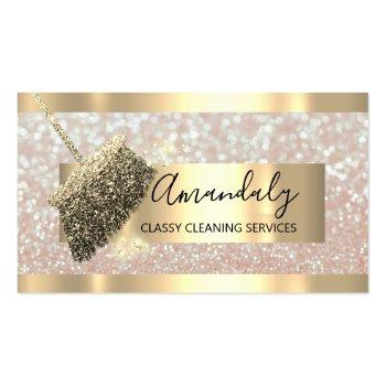 Small Cleaning Services Maid House Keeping Gold Glitter Business Card Front View