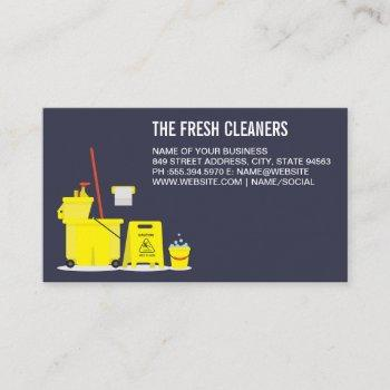 cleaning services   mop and bucket tools business card