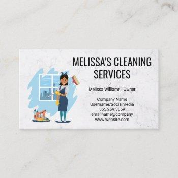 cleaning supplies and tools   worker cleaning business card