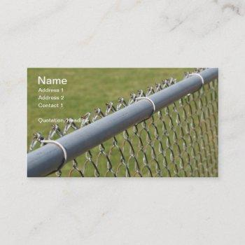 closeup detail of a metal chain link fence business card