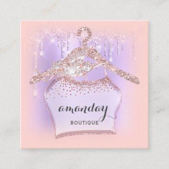 cloth hanger dress fashion shop  rose glitter drip square business card