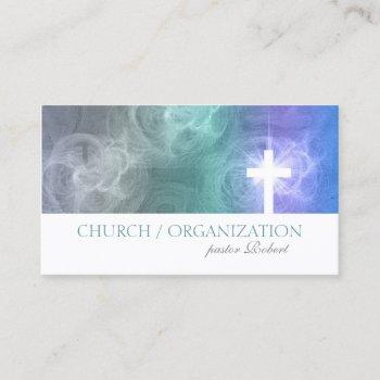 clouds & sky lighted cross religious business card