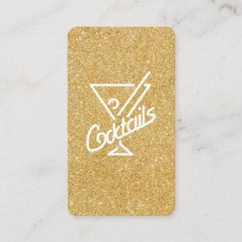 cocktails / glamour gold glitter business card