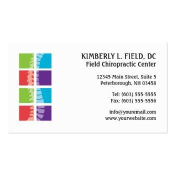Small Color Blocks Spine Chiropractic Business Cards Front View
