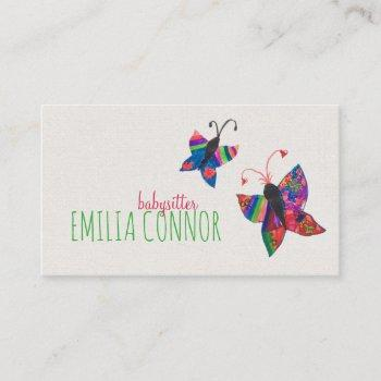 colored butterfly sketch babysitter business card