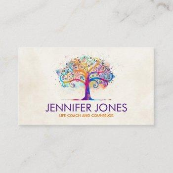 colorful abstract watercolor tree business card