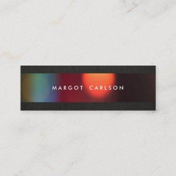 colorful bokeh black linen look chic mini business card