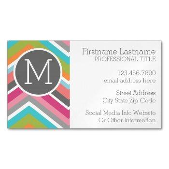 colorful chevron pattern with custom monogram business card magnet