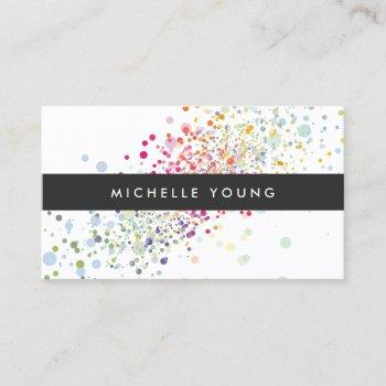 colorful confetti bokeh on white modern business card