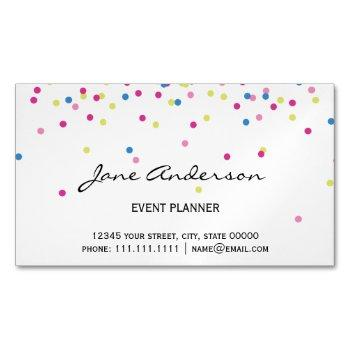 colorful confetti festive chic magnetic business card