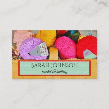 colorful crochet and knitting wool business card
