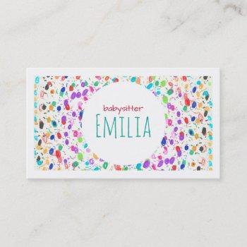 colorful dot sketch babysitter business card