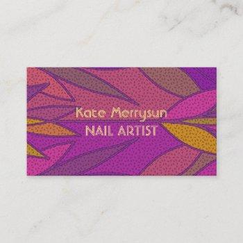 colorful elegant leafy pattern for nail artist art business card