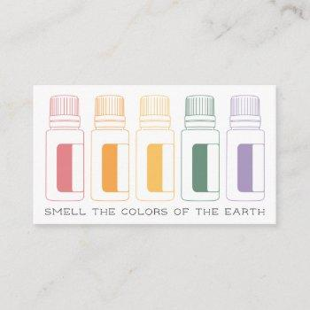colorful essential oil bottles business card