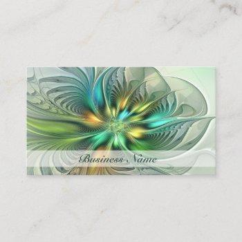 colorful fantasy abstract flower fractal art business card