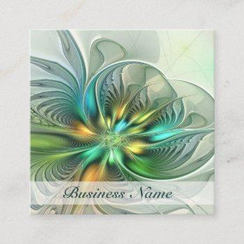 colorful fantasy abstract flower fractal art square business card