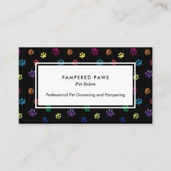 colorful foil paw prints professional pet salon business card