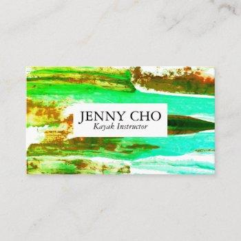 colorful green aqua sunset paint stripe business card