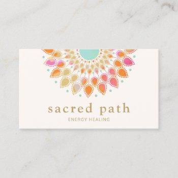 colorful lotus mandala  energy healer business card