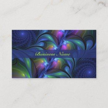 colorful luminous abstract blue pink green fractal business card