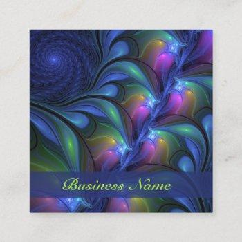 colorful luminous abstract blue pink green fractal square business card