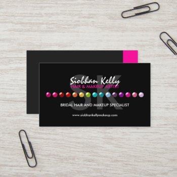 colorful makeup artist monogram business card
