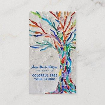 colorful mosaic tree yoga studio business card