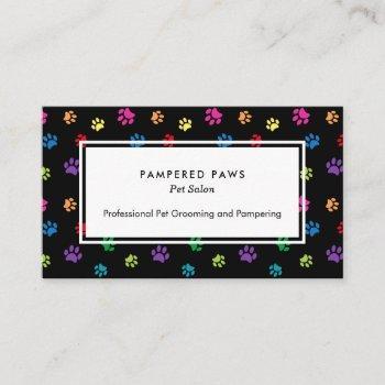 colorful paw prints professional pet salon business card