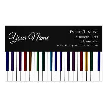 Small Colorful Piano Keyboard- Teacher Songwriter Band Business Card Front View