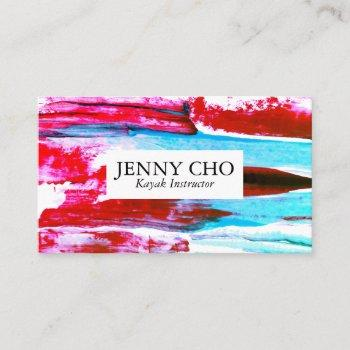 colorful pink and aqua paint stripe business card