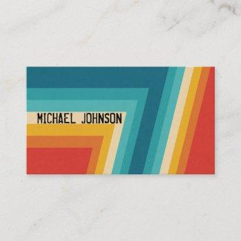 colorful retro stripes  -   70s, 80s design business card