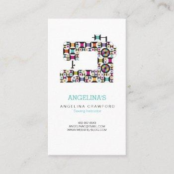 colorful sewing machine quilt pattern business card