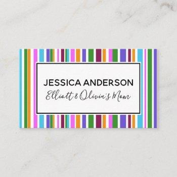 colorful stripes mommy playdate calling card