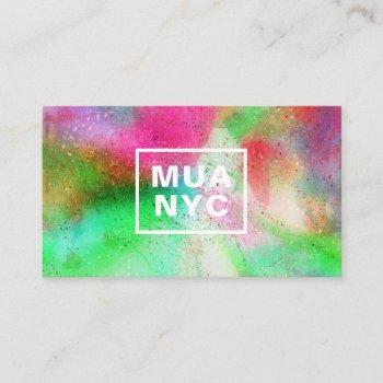 colorful watercolor paint splatter trendy initials business card