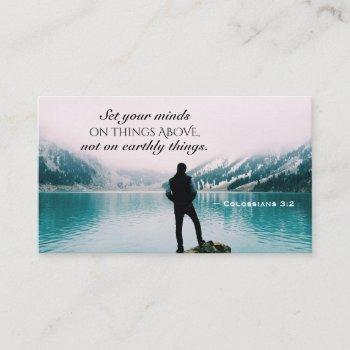 colossians 3:2 set your minds on things above business card