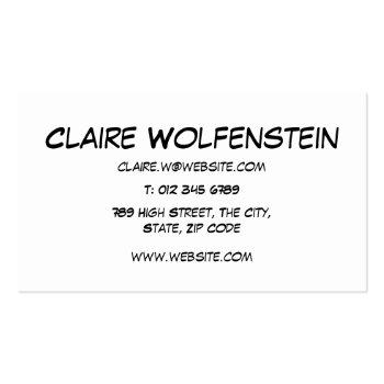 Small Comic Book Pop Art Hello Business Card Back View